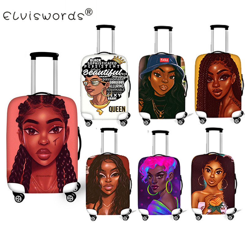 ELVISWORDS Black Girl Magic Afro Lady Travel Luggage Suitcase Protective Cover Apply To 18-30 Inch Travel Acessories Case Cover