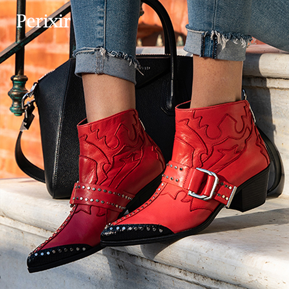 Fashion Rivets Studded Ankle Boots for Women Pointed Toe Buckle Kitten Heels Winter Shoes Ladies Black Red Leather Cowboy Boots