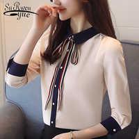 2019 fashion office lady shirt women blouses long sleeve chiffon women's clothing beige slim feminine tops shirts blusas D509 30