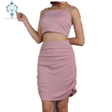CURLY summer Pink two-piece dress female 2019 sexy spaghetti strap sleeveless Tank side zip knee-length pleated dresses