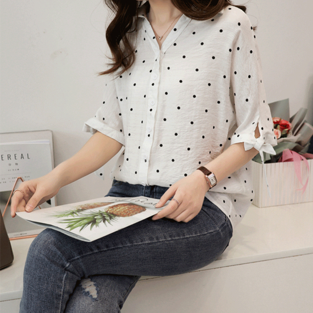 Women Tops and Shirts Half Sleeve V-neck Button Blouse Polka Dot Loose Solid Office Lady Elegant White Shirts Tops Plus Size 5XL 3