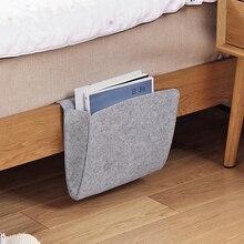 Войлочная прикроватная подвесная сумка для хранения Органайзер серая кровать карманы для хранения журнал Смартфон пульт дистанционного управления сумка для хранения карманы