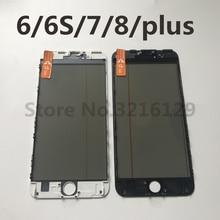 10 قطعة AAA 4 في 1 الصحافة الباردة الجبهة شاشة الزجاج الخارجي مع إطار OCA + المستقطب ل فون 7 6 6s 8 زائد 5 5s غيار للشاشة
