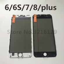 10PCS AAA 4 in 1 Cold Press Front Screen Outer Glass with Frame OCA+Polarizer For iPhone 7 6 6s 8 plus 5 5s Screen Replacement