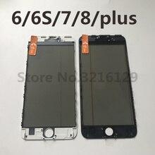 Bộ 10 Pin AAA 4 Trong 1 Lạnh Báo Chí Màn Hình Mặt Trước Kính Bên Ngoài Có Khung OCA + Tặng Kính Phân Cực Cho iPhone 7 6 6 S 8 Plus 5 5S Màn Hình Thay Thế