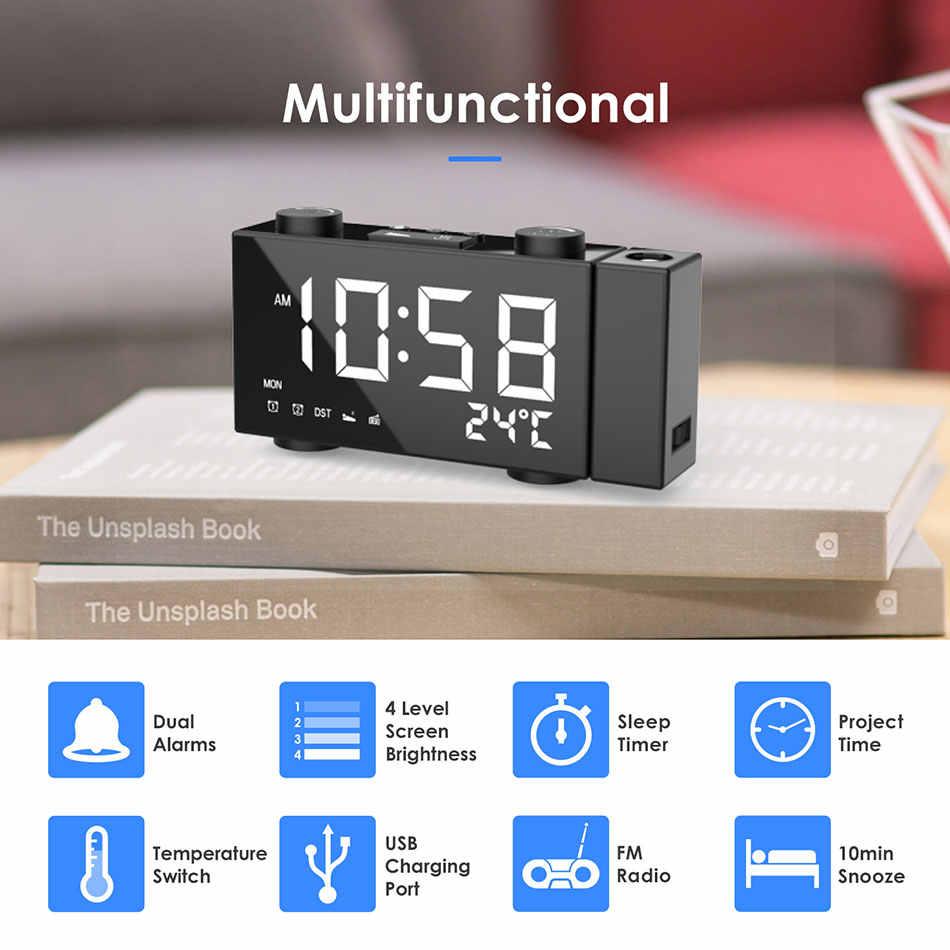 Gt Lampu Latar Proyektor Meja Jam LED Proyeksi Jam Alarm Digital Tanggal Tunda Fungsi dengan Waktu Proyeksi Mendukung FM