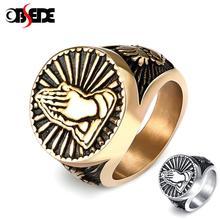 Gebet Hände Ringe für Männer Schwarz Silber Farbe Edelstahl Gesegnet Heiligen Vintage Männlichen Ring Religiöse Glück Christian Schmuck