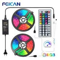 Tira LED 5050 2835 luces LED a prueba de agua 5M 10M 15M tira de luces LED 44Key RGB controlador 12V cinta LED tira de neón