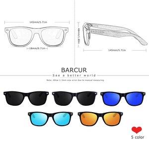 Image 2 - BARCUR noir noyer lunettes de soleil bois lunettes de soleil polarisées hommes lunettes hommes UV400 lunettes de protection en bois boîte dorigine