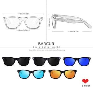 Image 2 - BARCUR الجوز الأسود النظارات الشمسية الخشب الاستقطاب النظارات الشمسية الرجال نظارات الرجال UV400 حماية نظارات خشبية الأصلي مربع