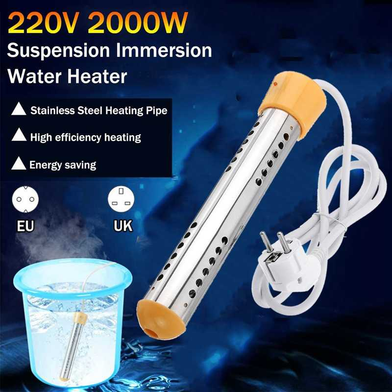 2000W Floating Electric Heater Boiler Pemanas Air Portable Immersion Suspensi Kamar Mandi Kolam Renang Uni Eropa Plug