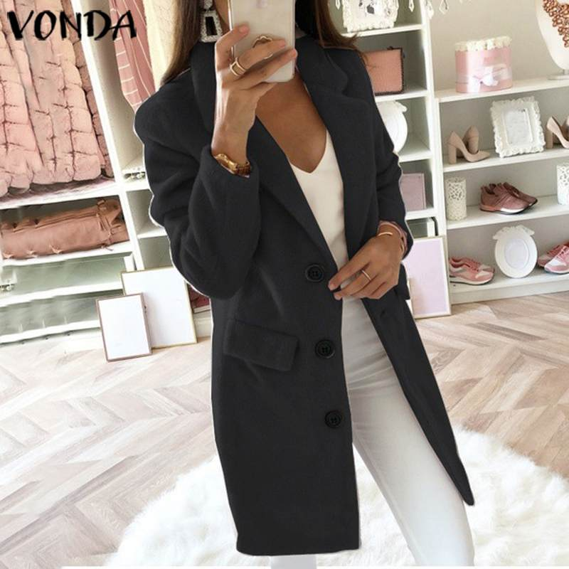VONDA 2020 Trench Womens Autumn Winter Slim Trench Casual Button Pockets Solid Long Windbreaker Vintage Blends Coats Plus Size