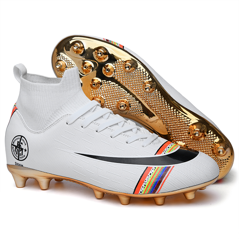 Gold Plated Bottom Boys Soccer Shoes High Top Kids Football Boots Men Breathable Soccer Cleats Antiskid Chaussure Football Shoes