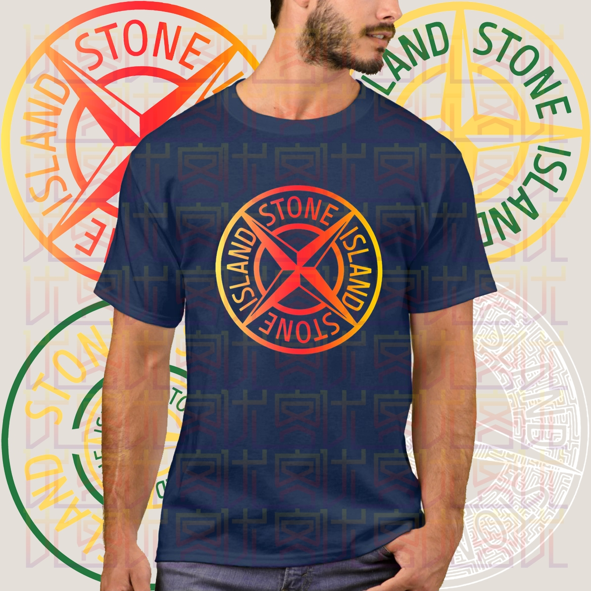 2020 New Stone-Island Logo Summer Print Navy T-Shirt Clothes Popular Shirt Cotton Tees Amazing Short Sleeve Unique For Men Tops