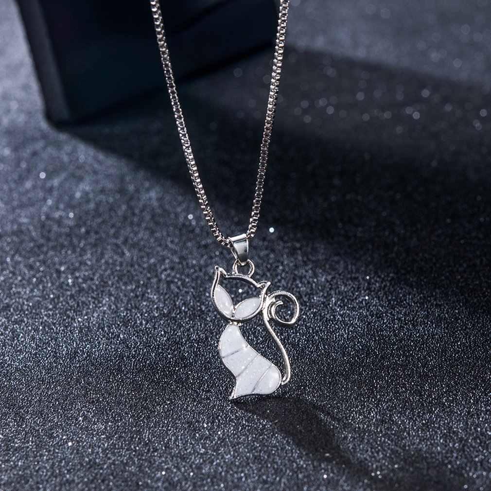 Кулон с милым котом ожерелье из голубого опала Модные женские ювелирные изделия животных модный подарок для ювелирных изделий женская подвеска-цепочка