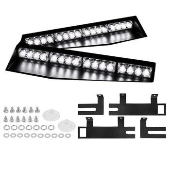 (White) 32LED Visor Lights 15 Flash Patterns Emergency Strobe Lights Windshield Split Mount Light Bar Law Enforcement Hazard War