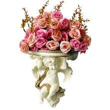 Ретро Цветочная ваза с Купидоном ангелом 3d Настенный фон украшения