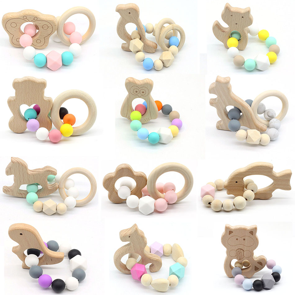 Baby Nursing Bracelets Wooden Teether  Silicone Beads Teething Wood Rattles Toys Baby Teether Bracelets Nursing Toys Gift