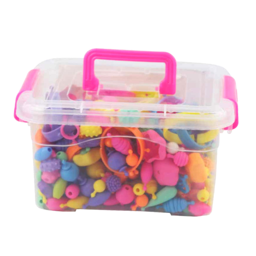 300x DIY Jewelry Kids Pop Beads Toy Snap Together Children Fun Fashion Kit Arty Beads Snap Together Girls Jewelry Art Craft Set