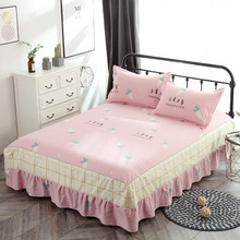 Novas flores impressão colcha 100% de cama de algodão saia da cama folha de lençóis de cama conjunto completo rainha king size cama dos desenhos animados rosa saia