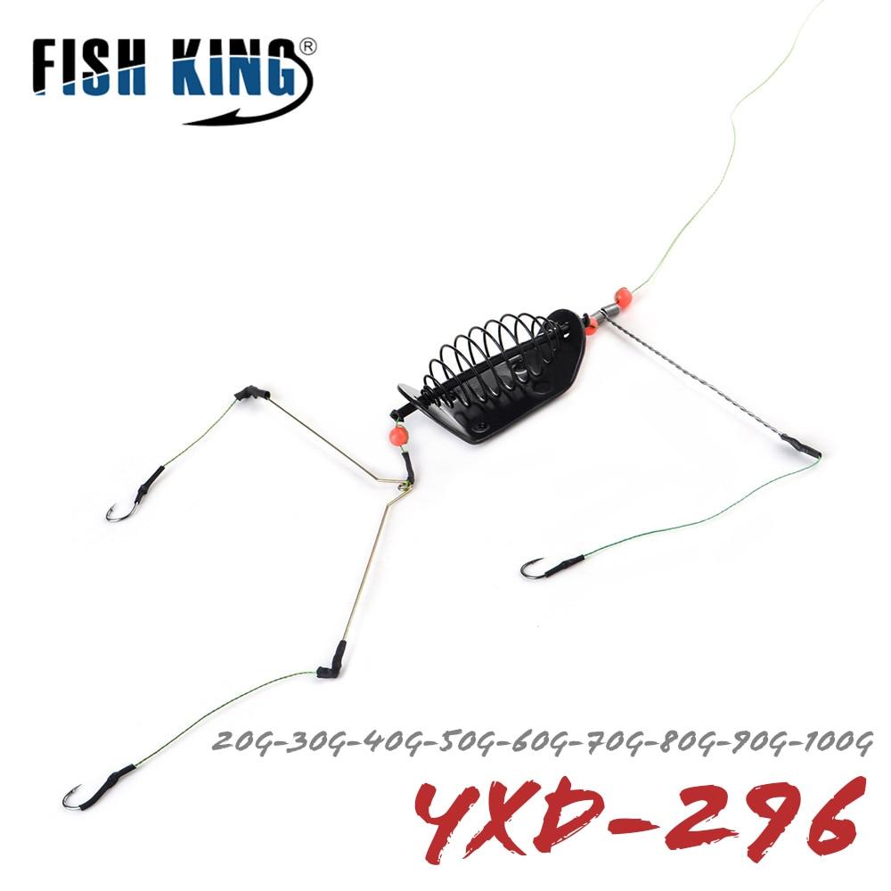 FISH KING 1PC 20G-100G Length 39CM Three hooks Fishing Bait Cage lead sinker Swivel With Line Hooks For Carp Feeder(China)