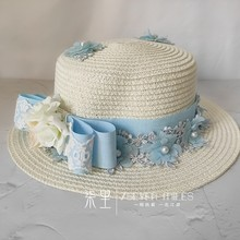 Lolita Vintage Straw Hat gentle blue Lace Bowknot Straw Hat Flower Wedding Japanese lovely Round Flat Cap Summer Handmade(China)