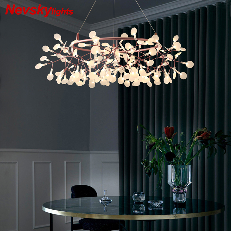Modern Led Chandelier Lighting Living Rosa Gold Lamp Nordic Branches Lights Dining Designer Industrial Firefly Simple Chandelier