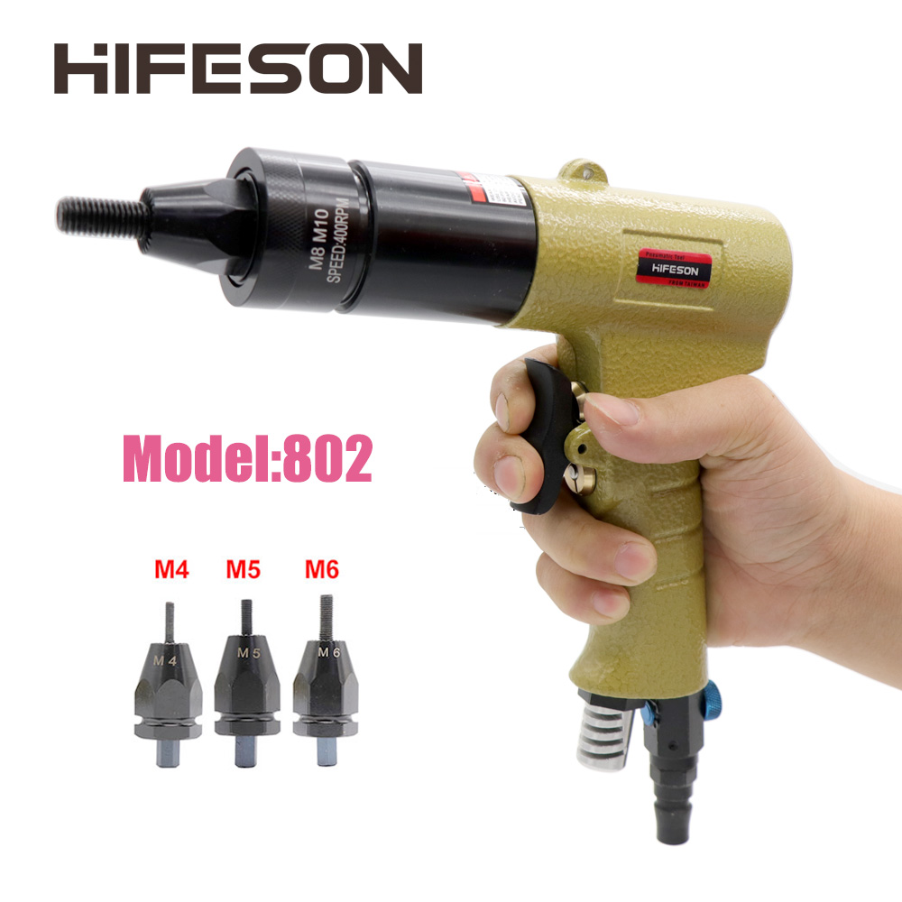 HF-802 M4 M5 M6 Pneumatic Air Rivet Nut Guns Insert Threaded Pull Setter Riveters Riveting Nuts Rivnut Tool For Nuts