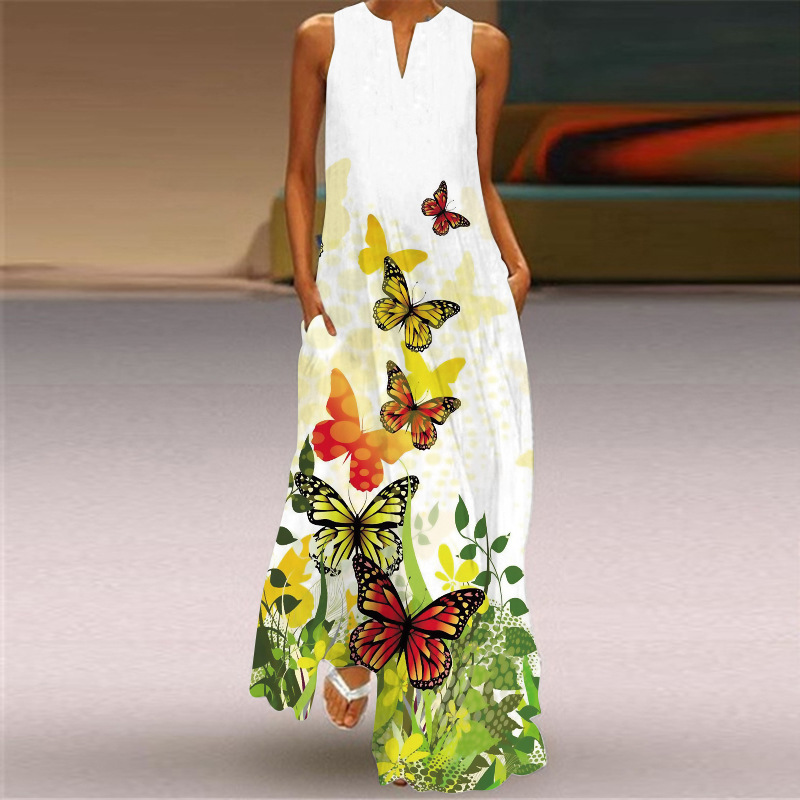 MOVOKAKA 2021 White Long Dress Women Mouth Print Vintage Sleeveless Elegant Dress Casual Plus Size Vestidos Girls Dresses Summer 21