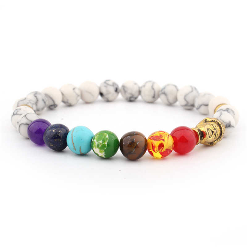 Hot Sale Distance 7 Chakra Bracelet White Beads Buddha Reiki Prayer Bracelets for Women Men Fashion Jewelry Gifts bracelet femme