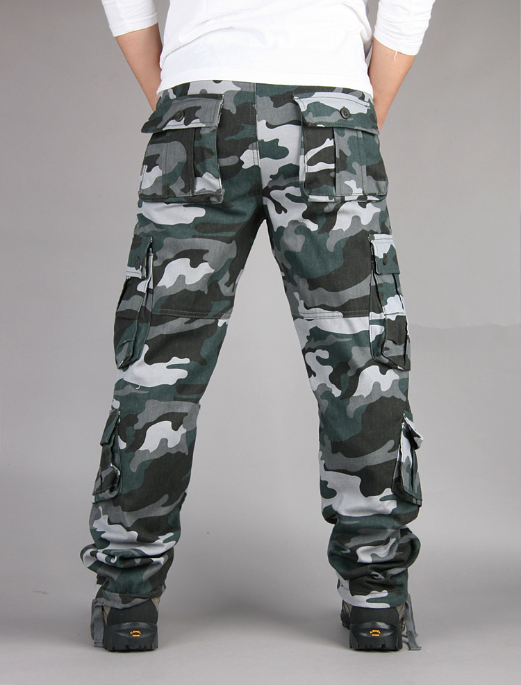 Men's casual outdoor multifunctional overalls men's camouflage military trousers wear-resistant multi-pocket oversize slacks