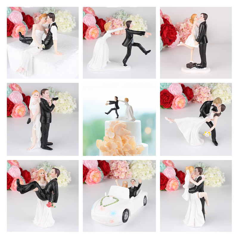 Romantic Groom Bride Resin Figurine Cake Topper  Wedding Decoration Bridal Shower Bride To Be Bachelorette Party DIY Decor Gifts