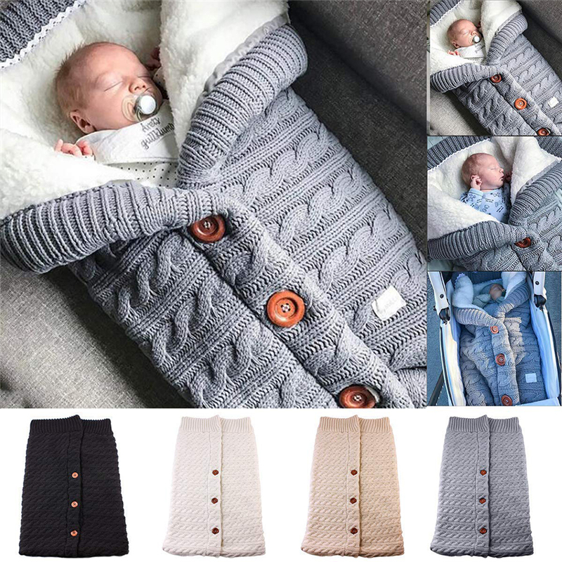 Baby Winter Warm Sleeping Bags Infant Button Knit Swaddle Wrap Swaddling Stroller Wrap Toddler Blanket Newborn Sleeping Bags