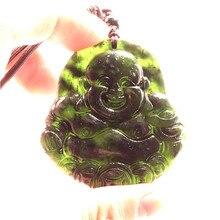 Китайский черный зеленый нефрит Будда нефрит кулон натуральный обсидиан ожерелье очаровательные ювелирные изделия мода удача амулет подарки для мужчин и женщин