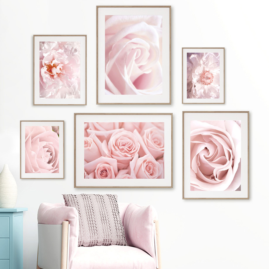 Розовый цветок Далия Пион Роза сад настенная живопись холст скандинавские постеры и принты настенные картины для гостиной домашний декор