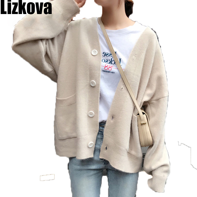 Woman Autumn 2019 White V-neck Two Pocket Cardigan Sweater Student Lazy Oaf Knitted  Loose Coat