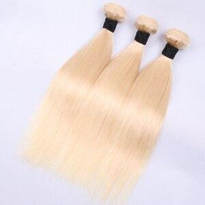 Image 3 - 613 # Большая распродажа 3 4 9 пряди прямые человеческие волосы блонд бразильские волосы для наращивания Remy прямые волосы длинные 30 дюймов Jarin волосы