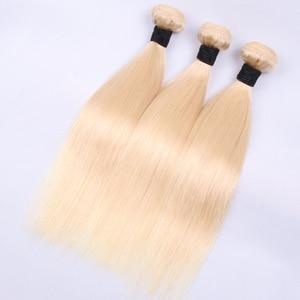 Image 3 - 613 # venda a granel 3 4 9 pacotes em linha reta cabelo humano loira extensão do cabelo brasileiro remy cabelo reto longo 30 polegada jarin cabelo