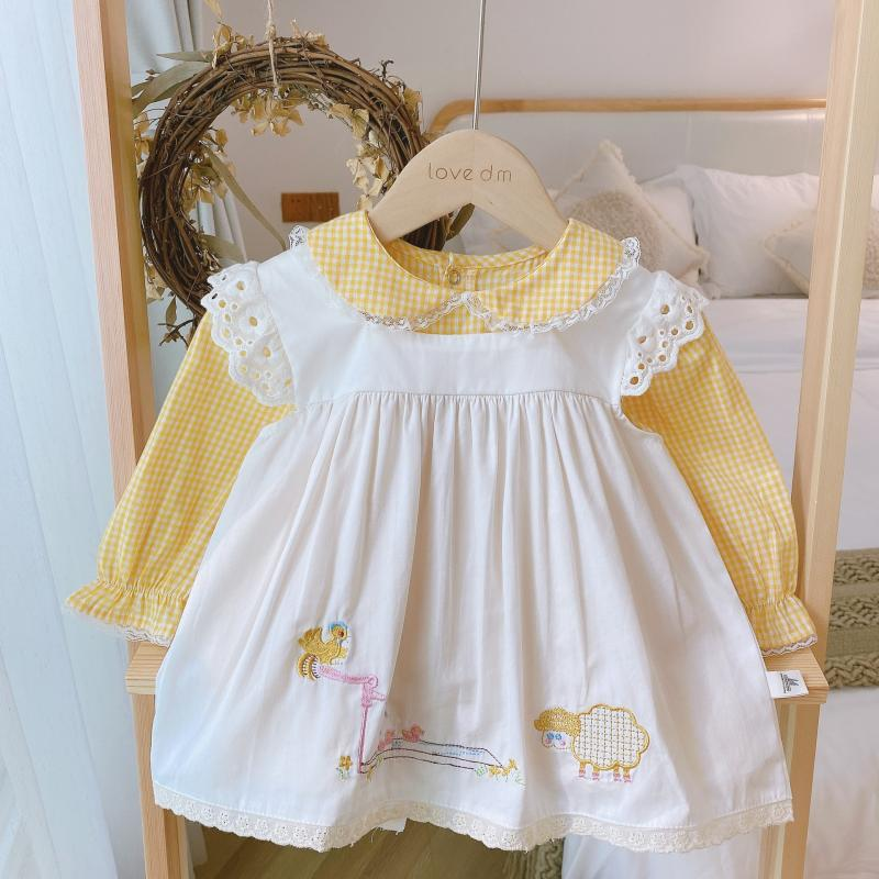 Autumn 2pcs Children Spanish Lotia Dresses Girls Embroidery Animal Yellow Frock with White Vest Toddler Spain Long Sleeve Dress