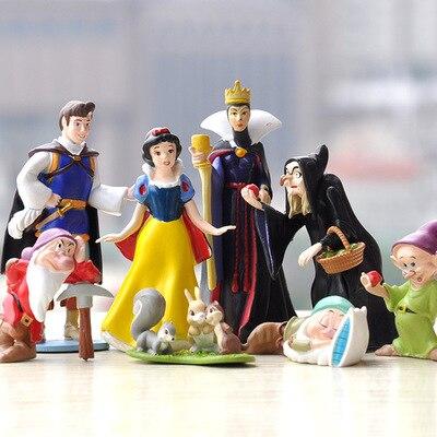 Disney princesa neve branca e os sete anões rainha bruxa príncipe figura jogar brinquedos pvc modelo bonecas para meninas crianças presente de aniversário