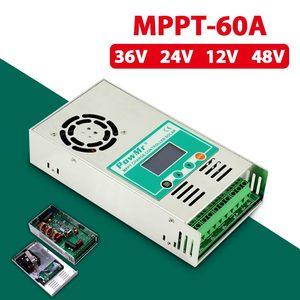 MPPT 60A Солнечный контроллер зарядное устройство Солнечная Панель DC 190V подсветка LCD 12V 24V 36V 48V солнечный регулятор вход Авто воздушный вентилят...