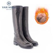 VAIR MUDO New High Quality Handmade Womens Winter Boots Knee Genuine Leather thick heel Wool Warm Lady Snow ZT3