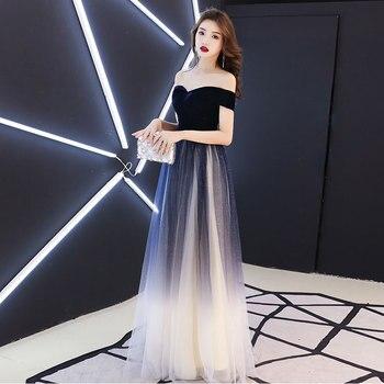 Navy blue elegant Prom party Dresses  Vestido de Festa dress evening long frock robe de mariee robe communion fille robe sequin 4