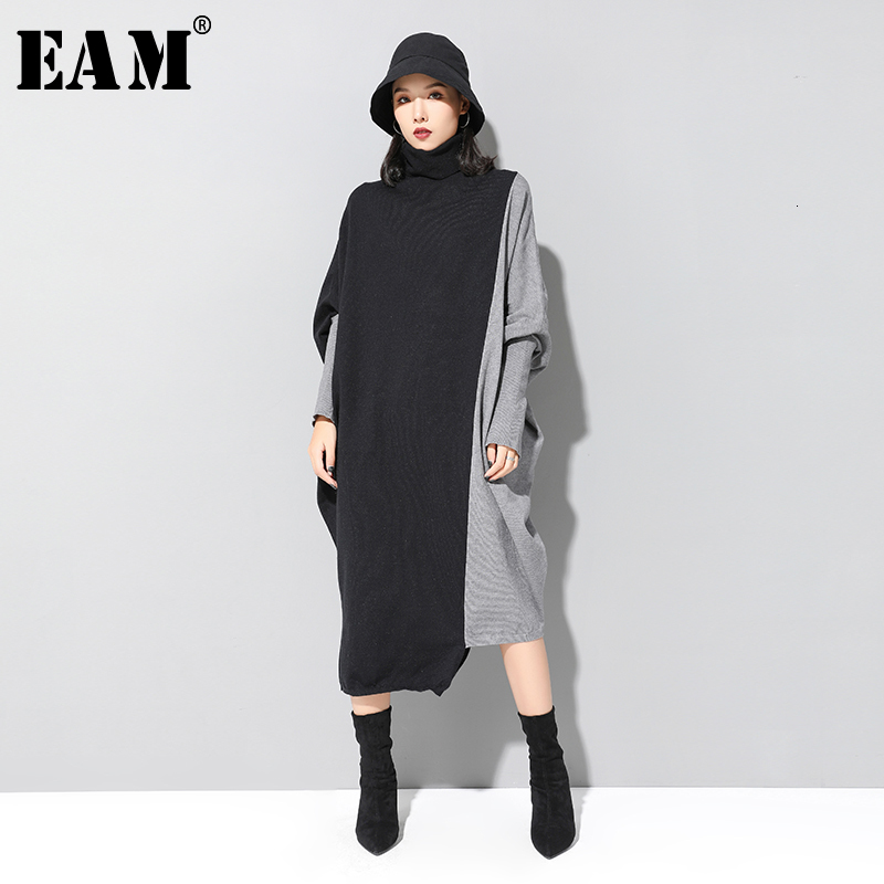 [EAM] Women Contrast Knitting Big Size Dress New High Collar Long Batwing Sleeve Loose Fit Fashion Tide Spring Autumn 2019 1D675