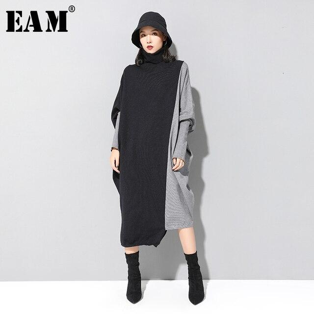 [EAM] Frauen Kontrast Stricken Große Größe Kleid Neue Hohe Kragen Lange Flügel Hülse Lose Fit Mode Flut Frühjahr herbst 2020 1D675