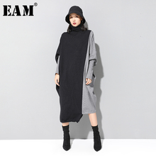 [EAM] Women Contrast Knitting Big Size Dress New High Collar Long Batwing Sleeve Loose Fit Fashion Tide Spring Autumn 2020 1D675