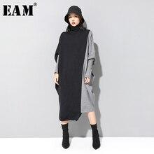 [Eam] 女性コントラストニットビッグサイズドレス新高カラーロングバットウィングスリーブルーズフィットファッション潮春秋2020 1D675