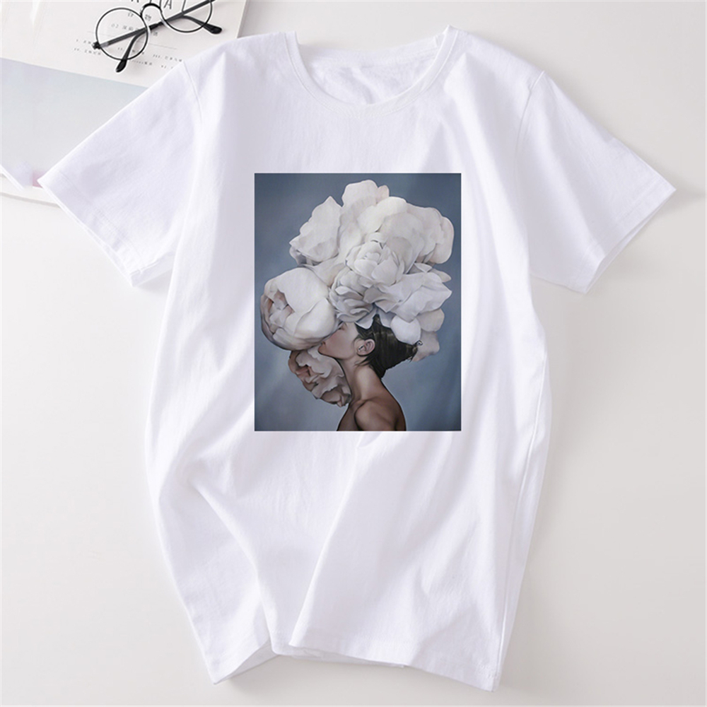 Flower Feather Sexy Woman Tshirt Women Vintage Kawaii Aesthetic Harajuku Plus Size Cotton Short Sleeve Top Tees Tee Shirt Femme