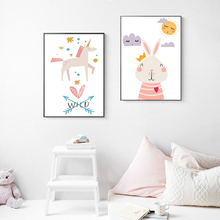 Unicorn Cartoon Poster Cute Rabbit Canvas Painting Nursery Posters And Prints Nordic Wall Pictures Baby Kids Home Decor