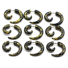 Men Women Spiral Ear Taper Snail Expanders Piercing Black Body Jewelry Faux Plug Tunnel Pircing Septum Tragus